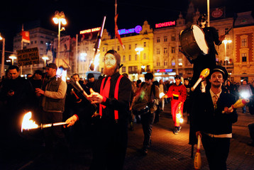 Performers participate in an anti-government protest at the Zagreb's main square