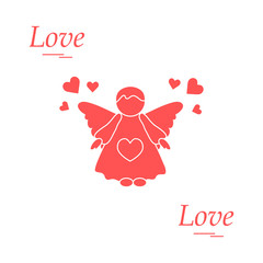 Cute vector illustration: angel and hearts. Love symbol.