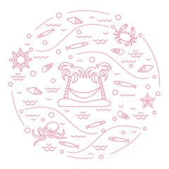 Cute vector illustration with octopus, fish, island with palm trees and a hammock, helm, waves, seashells, starfish, crab arranged in a circle.