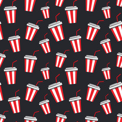 Seamless pattern with cartoon cups of soda