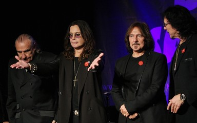 Original members of the rock band Black Sabbath announce the reunion of the rock group at the Whiskey A Go Go in Los Angeles