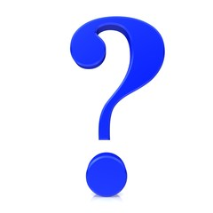 question mark 3d colored blue interrogation point punctuation mark asking sign isolated on white business in high resolution for business presentation and print