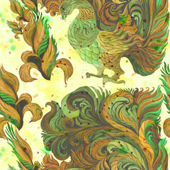 Decorative birds - watercolor. Wallpaper. East style. Seamless pattern.Abstract background image. Use printed materials, signs, items, websites, maps, posters, postcards, packaging.