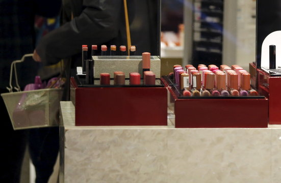 Lipsticks are displayed at a shop of Shiseido Co in Tokyo