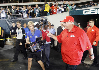 Kansas City Chiefs head coach Andy Reid walks on to the field during warm-ups before the start of an NFL football game with the Philadelphia Eagles in Philadelphia, Pennsylvania.
