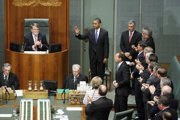 U.S. President Obama prepares to address the Australian Parliament in Canberra