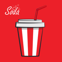 Vector illustration of cartoon fountain soda on a red background
