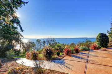 Exterior of panorama house with gorgeous view of Puget Sound