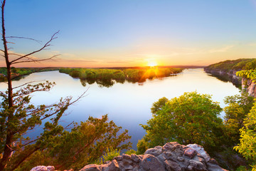 Sunset from where the Sac River and the Osage River comes together at Truman Lake in the Ozarks of Missouri.  This is at Osceola, Missouri