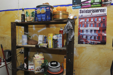 A shelf with food stands in the kitchen of a flat in the building which was a location of Liebig 14 left-wing housing project, in Berlin
