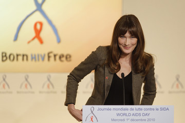France's first lady Carla Bruni-Sarkozy speaks during a news conference for World AIDS Day at the Marigny hotel in Paris