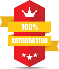 Satisfaction Red Shield With Colorful Ribbon Label, Sticker, Tag, Sign And Icon Banner Business Concept, Design Modern With Crown.