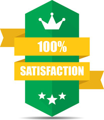 Satisfaction Green Shield With Colorful Ribbon Label, Sticker, Tag, Sign And Icon Banner Business Concept, Design Modern With Crown.
