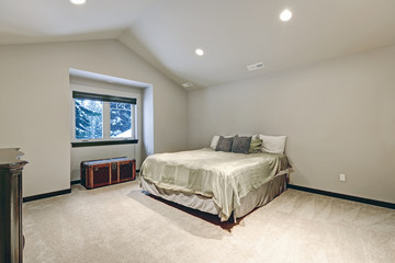 Vaulted ceiling bedroom design with large bed