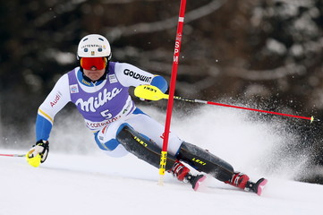 Hargin of Sweden clears a gate during the first run in the men's slalom at the Alpine Skiing World Cup in Santa Caterina Valfurva