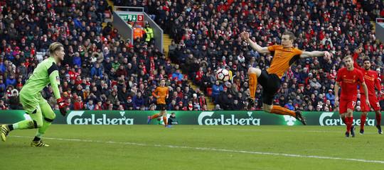 Wolverhampton Wanderers' Jon Dadi Bodvarsson shoots at goal