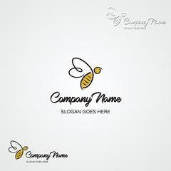 Bee Logo / Illustration of line flying bee