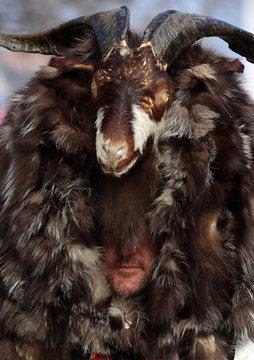 Dancer wearing mask made of animal fur take part in the International Festival of Masquerade Games 'Surva' in Pernik
