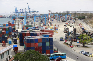A general view is seen of the container terminal at the main port in the Kenyan coastal city of Mombasa