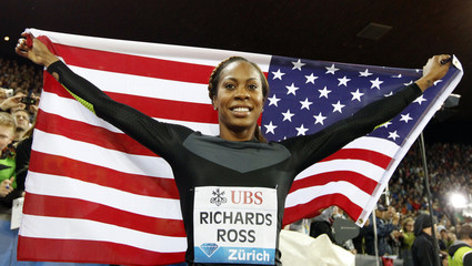 Richards-Ross of the U.S. celebrates as she won the women's 400m race during the Weltklasse Diamond League meeting in Zurich