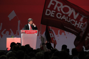 Jean-Luc Melenchon, leader of France's Parti de Gauche political party and the Front de Gauche political party's candidate for the 2012 French presidential election, attends a politicl rally in Lille