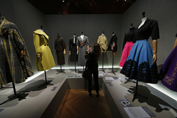 """Vintage dresses by designers Gres, Madeleine Vramant, Jacques Fath, Pauline Trigere, Pierre Balmain, Givenchy and Schiaparelli are presented in the exhibition """"Les Annees 50, La mode en France"""" at the Palais Galliera  fashion museum in Paris"""