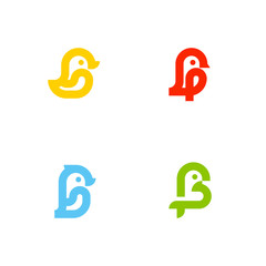 Set of icons or logo templates with little birds. Duck, sparrow, penguin and parrot isolated on a white background. Line art style