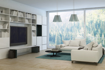 Upmarket modern living room or den interior