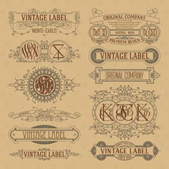 Old vintage floral elements - ribbons, monograms, stripes, lines, angles,border, frame,label, logo - vectors