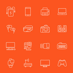 gadgets, modern devices icons set, thin linear style, action camera, portable power bank, smart watch, vr headset and others