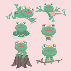 Cartoon Vector of Green frog in the pond theme in different positions.