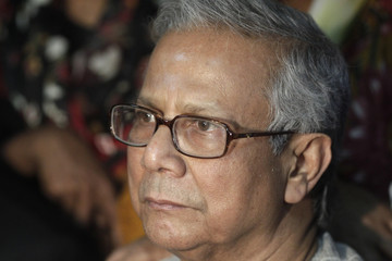 Bangladeshi Nobel laureate Muhammad Yunus appears in front of media in Dhaka