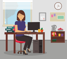 Woman working with Computer and Folders at her desk in an office. Young Businesswoman sitting and working conceptual illustration vector.