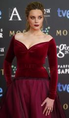 Spanish actress Carolina Bang poses on the red carpet before the Spanish Film Academy's Goya Awards ceremony in Madrid