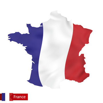 France map with waving flag of France.