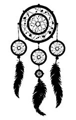 Dream catcher silhouette with feathers and beads