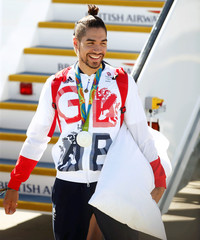 Team GB athlete Louis Smith returns home from the 2016 Rio Olympics, at Heathrow Airport in London