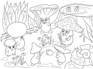 Family of mushrooms in the forest coloring book for children cartoon vector illustration