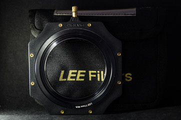 Singapore, 27 May 2017: LEE Filter Holder with 77mm Adaptor ring. Lee Filters is a manufacturer of colour filters and colour gels for the entertainment lighting, film and photography industries.