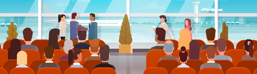Traveler People in Airport Hall Departure Terminal Travel, Passenger Sitting in Waiting Room Flat Vector Illustration