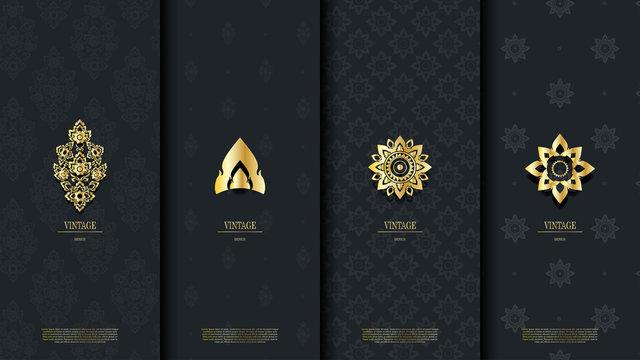 Packaging template of exotic Thai pattern design element concept dark blue vintage background and logo vector design
