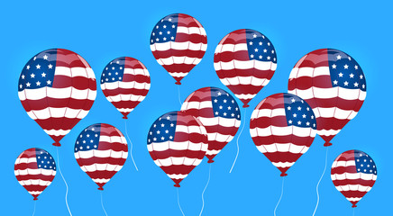 Air Balloon Colored In United States Flag Independence Day Holiday 4 July Banner Greeting Card Flat Vector Illustration