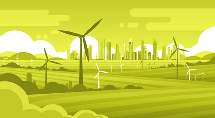 Wind Turbine Tower In Field Green City Background Ecology Alternative Energy Source Technology Flat Vector Illustration