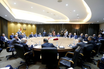 Politicians attend a session of the national dialogue, aimed at discussing ways out of a political crisis at the parliament building in downtown Beirut