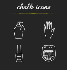 Manicure chalk icons set