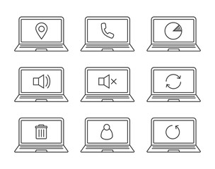 Laptops linear icons set