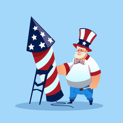 Man Wearing American Flag Colored Hat Holding Firework Rocket Celebrate United States Independence Day Holiday Flat Vector Illustration