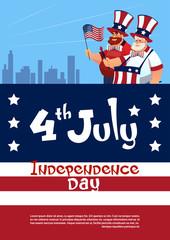 Man Holding American Flag United States Independence Day Holiday Flat Vector Illustration