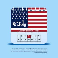 Calendar Page 4th July United States Independence Day Holiday Flat Vector Illustration
