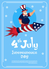 Man Wearing American Flag Colored Hat Ride Firework Rocket Celebrate United States Independence Day Holiday Flat Vector Illustration